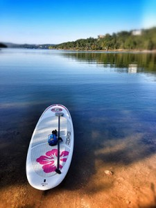 bic sup board on lake