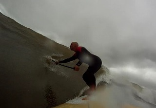 Joe Cormier: June 9, 2013. Some great swell from a storm that pushed up the east coast last year. Got this GoPro shot just before the wipeout :)