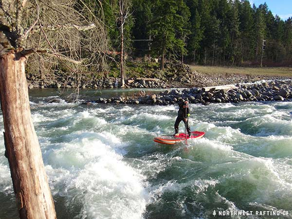 Tim Thornton cleaning the last part of Lower Dam Rapid on the Hood River.
