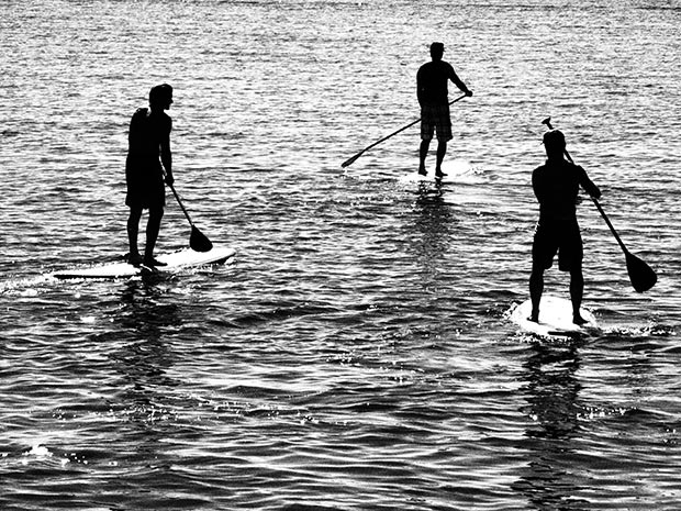 Andrea Winzor: A relaxing paddle in the morning at Port Stephens in NSW, Australia taken on May 16th, 2014 Take a closer look for a familiar profile of one very well known SUP'er! :)