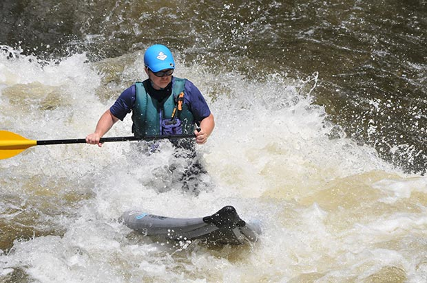 Bob Mastorakis: Bob Mastorakis knupping the class 3 Zoar Gap on the Deerfield River in Western Massachusetts. Bob's been a raft guide for years on the river, this was his first time surviving the gap on his inflatable board.
