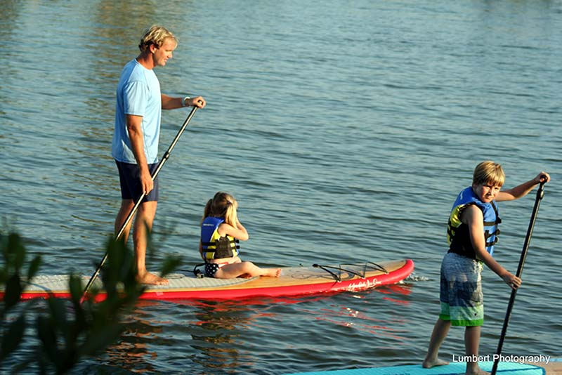 Herb Lumbert: Paddling in Manatee Cove: Erik, Kire (6yrs old) and Olivia (3yrs old). Kids love spending time with Dad on paddleboards.
