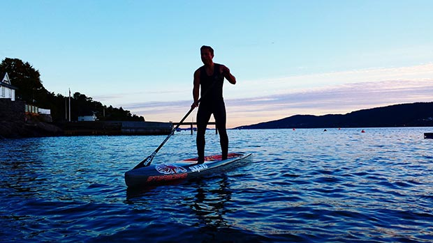 mette cecilie syversen Quiet evening sup on a blue Norwegian fjord.