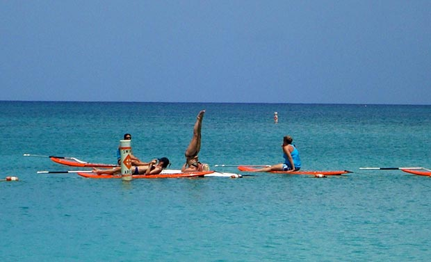 Julie Blais: Paddle Board Yoga class, 7 mile Beach in Grand Cayman... Bliss...