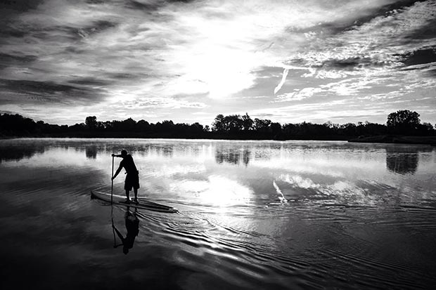 Kevin Seall: Kevin seall Gliding through the glassy conditions at day break on the lake @ prairie oaks metro park in Hilliard ohio. No words can describe the tranquility.