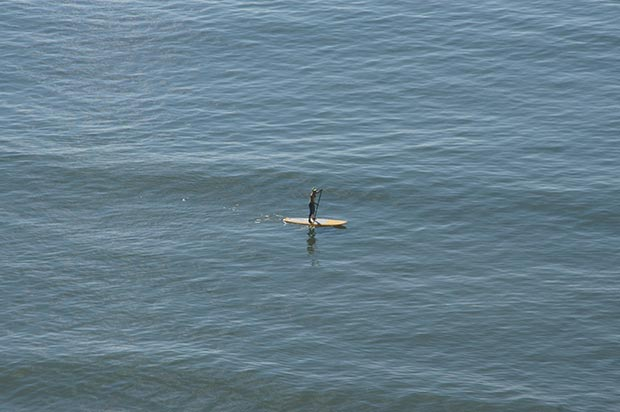 Mara Costa: My first day of stand up paddleboarding. Photo was taken by my husband from our home in Santa Catarina - Brazil