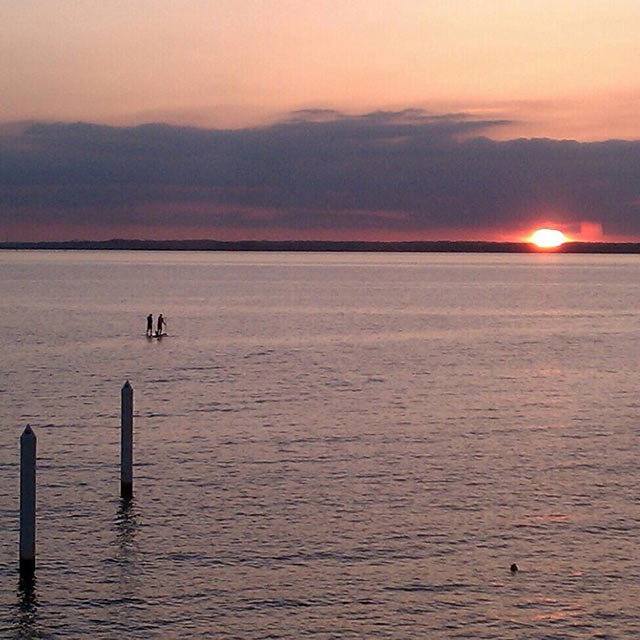 Brad Bowser: After a long day working the Bay Bridge boat show fellow SUPer Luke Hopkins and I paddle out at sunset alongside the beautiful Bay Bridge on the Chesapeake Bay near Stevensville MD