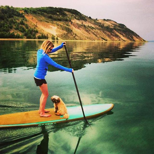 Brittany Brubaker: Summer Solstice paddle on Lake Michigan on the Sleeping Bear National Dunes National Lakeshore. Love my little lady - always up for an adventure!