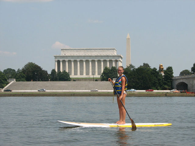 Daniel Grundvig My daughter Devon Grundvig paddling on the Potomac while i was stationed at the Pentagon, amazing shot of the Lincoln and Washington memorials.