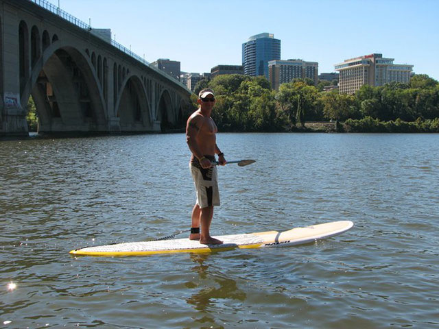 Daniel Grundvig: Me paddling the Potomic under the Key Bridge near George Town.