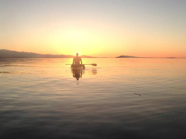 Doug Pickard: Vancouver Island Sunset SUP Style. Qualicum Beach, BC. , Canada