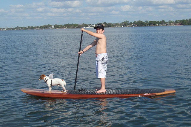 Jim Birney: My son Michael and his shark-dog Brady enjoying time together on the Three brothers boards Jason Ryan