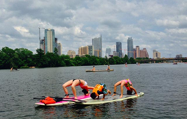 Kimberly Gallego: Cristiano, Maile, and Kimberly Gallego doing their favorite thing enjoying some SUP yoga on Town Lake in beautiful Austin, Texas!