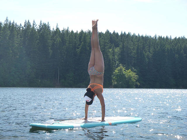 Melissa Longfellow: Practicing this for 3 years is how I got here. The amazing thing about this is that I am 45 yrs old and it was not that long ago that could not get off the GROUND into a handstand! Serious. But I know from practicing yoga that it's the practice, commitment, dedication and belief that something is possible--that actually makes something amazing be possible.