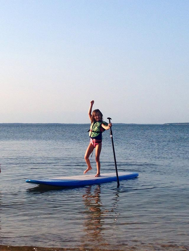 Sheila M: My super 6 year old doing a little dance because she just learned to SUP!