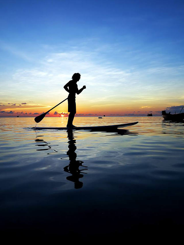 simon crockett: Lazy sunset paddle board session on the beautiful Island of Koh Tao in the Gulf of Thailand, i have recently brought SUP Boards to the Island to rent from my little paddle shack that i call 'Crockett's SUP paddle shack, Koh Tao. The sunsets this time of year are awesome, and the colours mixed in with the coral just under your feet are to die for, gotta love a lazy sunset paddle.