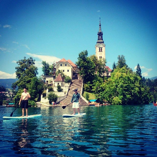 Andy Ellis: July 4th at Lake Bled, Andy and Evan are enjoying their liberty pass for the 4th of July with some paddleboarding action at Lake Bled in Slovenia. Photo by Gwynn Ellis