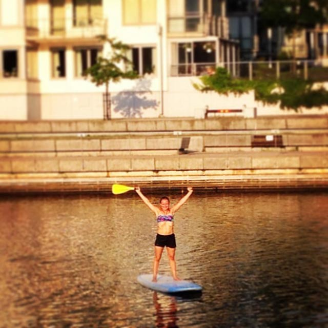 """Asa Weding: This is me standing at the board during SUP fitness work out. It is taken place in July 2014 at """"Nissan"""", a river at the west coast of Sweden. I really enjoy this work out, it's fun and pretty hard! You are training your balance during all exercises at the board. I love it! And, I met my boyfriend here!"""
