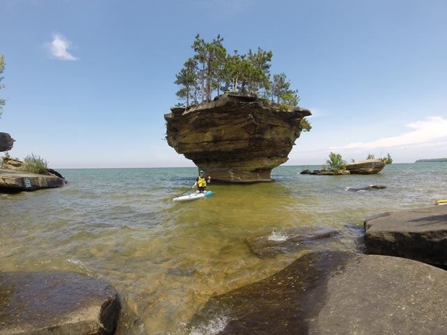 """Greg Lechowicz: Great Lakes Beauty! """"No Salt Required"""" Enjoyed a 2-hour paddle to this eye-catching structure in the fresh blue waters of """"Pure Michigan""""."""