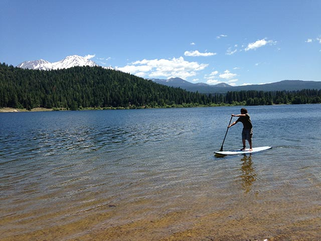 Jeremy Anderson: My first time on a SUP right below Mt. Shasta on Lake Siskiyou California in June 2014.
