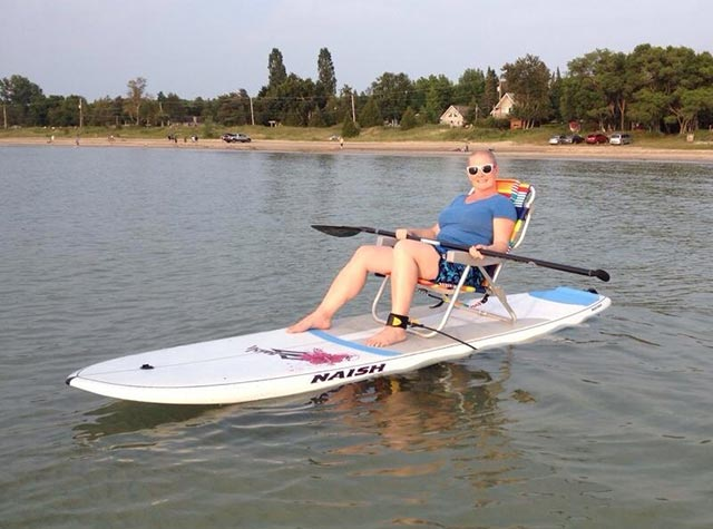 Laurie-Ann Matthews: Relaxing on my SUP at Sauble Beach.