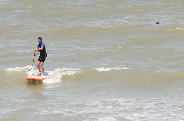 Thibaut Bouveroux: Sup session in the North of Sea (De Panne, Belgium) with a common seal