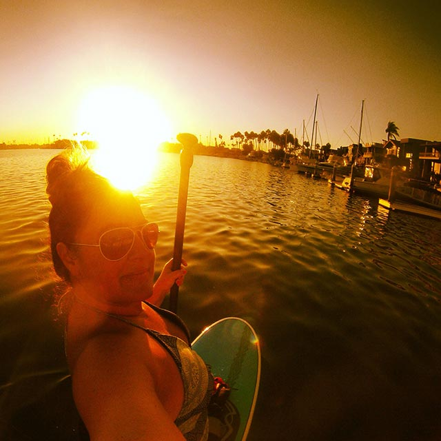 Angela Ritchie: Angela Ritchie-Naples Island, Long Beach California. Sunset paddle on a Sunday in September, my favorite work out on the water.
