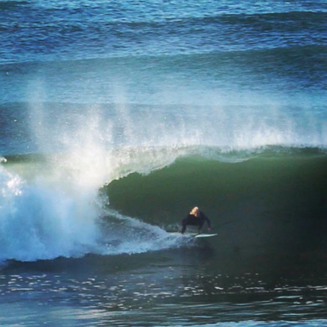 "Carlene Messinger: Jimi Grimley, of Narragansett, Rhode Island is one of the few legends that can make this look SO SWEET on a 6'3"" SUP, 29' wide; 78 liters!!! August 28, 2014, off Block Island, Rhode Island - SUP surfing hurricane Cristobal swell - phenomenal!!!"