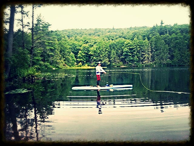 "Jeff Krawczyk: SUP Fly Fishing on Bigelow Hollow Pond in Union, CT on my BanhPho Surfboards & Crispy Noodle ""Hobo Sled"""
