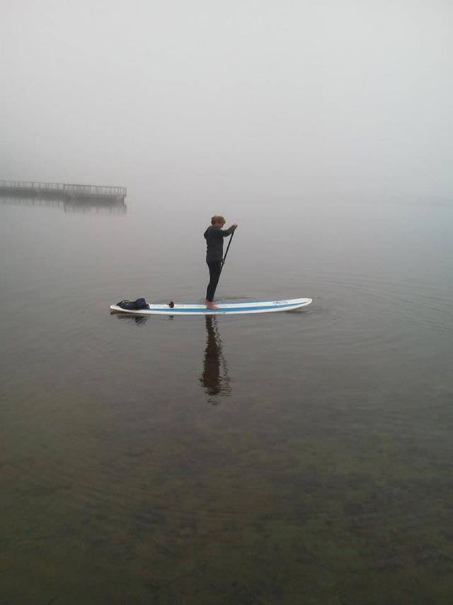 Julie Olson: SUPing on the cold misty waters of Cass Lake, MI in December 2013