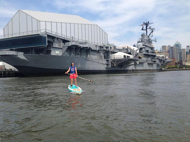 Karen Marvin: Seapaddlenyc Paddleboarding in front of the intrepid. .were very few have ever done...