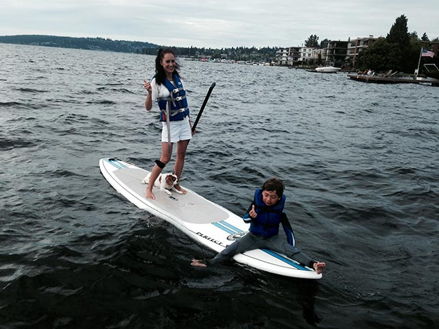 Sahra-manon Muehlheim: My son and I with our pup Lione having a fun family SUP adventure on Lake Washington, Seattle. Why? Because we love the adventure and water. When: August, 2014.