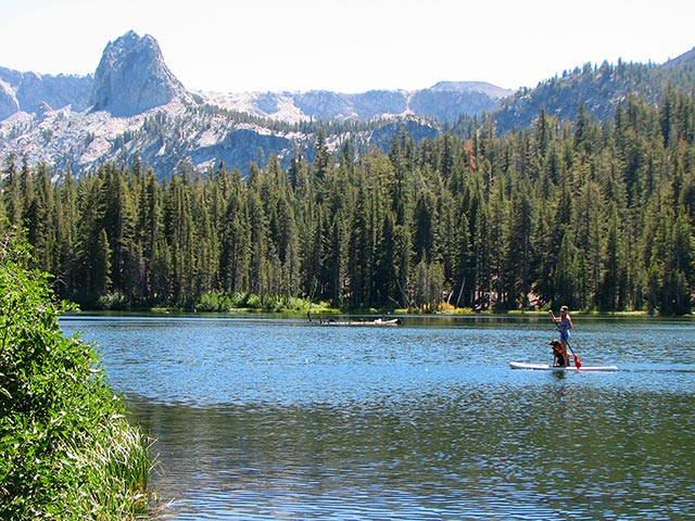 Alissa Costello: Stand up paddleboarding with my pup in the High Sierras near Mammoth Lakes California. This was my Dog Marley's first experience on the board.
