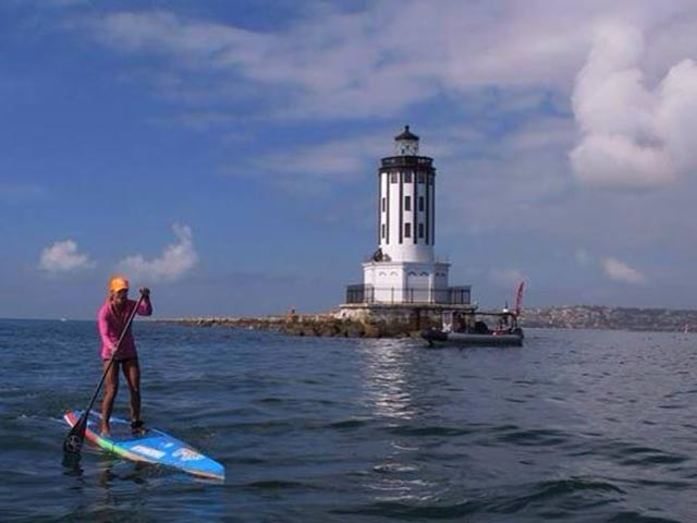 Cherl Alvira: First day of 100 mile paddle race from Redondo to San Diego, at the Long Beach break wall.