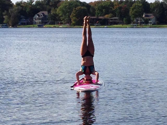 Mary Swanson: Checked off 1 item on SUP bucket list. Daily SUP on inland lake in Southwest Michigan, but wanted to try a headstand. Finally succeeded on Labor Day weekend! Now watching the lake freeze over so heading to Oahu's north shore in January.