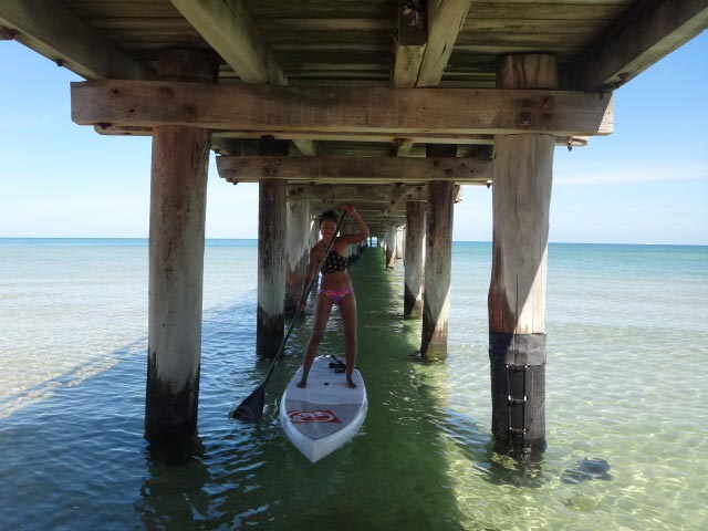 Patchara Songprasert: Challenging myself to paddle straight under Seaford pier, it wasn't easy I made it after 3rd attempt. Love adding something fun to my sup routine. Seaford,Australia.