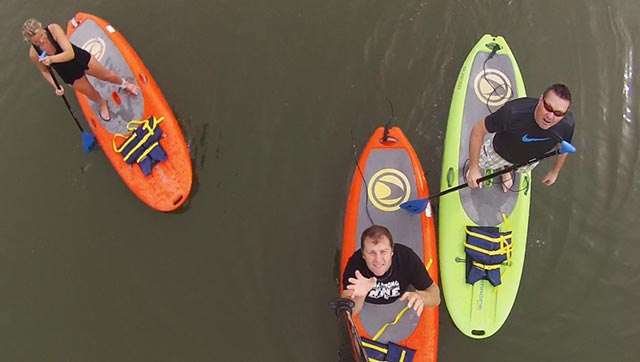 Paul Nelson: Stand Up Paddle Boarding on Tempe Town Lake, Phoenix, AZ. Testing out my paddle drone, which is attaching the GoPro to the SUP paddle and throwing it in the air.