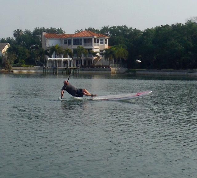 Robin Potter: My dad's first time trying to standup paddling.