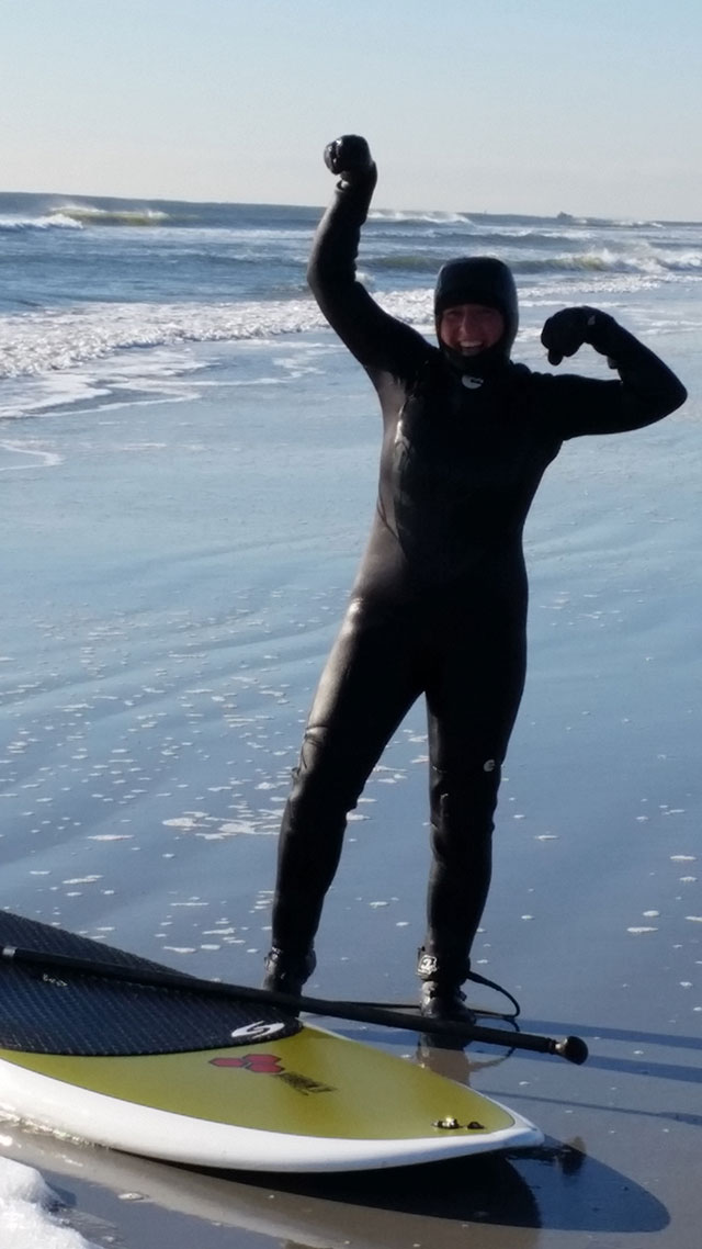 Dawn Dudley: Just finished enjoying an awesome winter SUP surf session in cold New Jersey