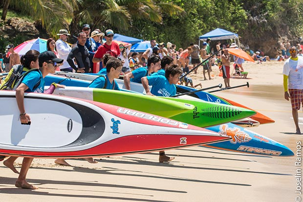 Joselin Ramos: SUP Juniors at the starting race at the beautiful beach of Crashboat, Aguadilla Puerto Rico.