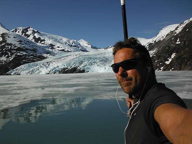 "Karl Mittelstadt: Portage Glacier early spring glass smooth no wind early morning wake up & live Paddle on my 12'6"" Nash Glide still a layer of Ice in front of Glacier RESPECT ALASKA Portage Lake is 800ft deep... Selfie - Karl Mittelstadt"
