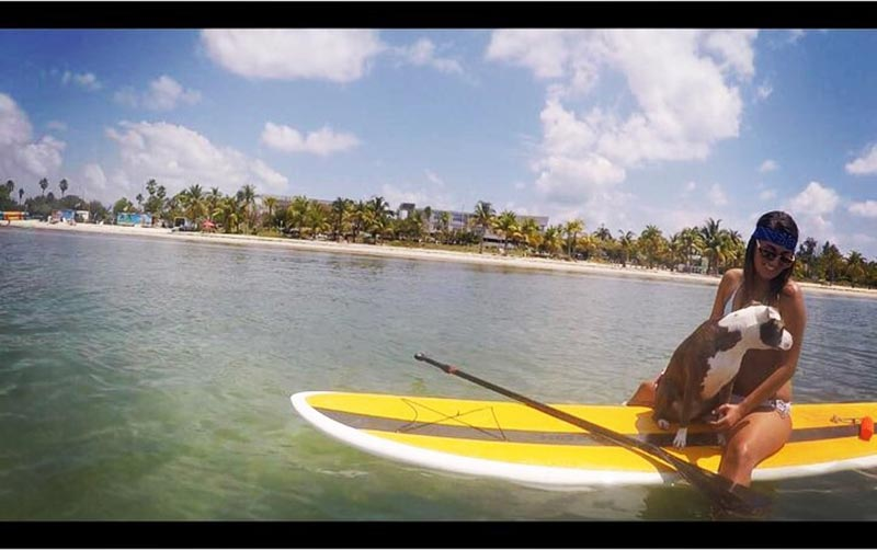 Michelle Garcia: Me and my puppy penny paddling at Key Biscayne