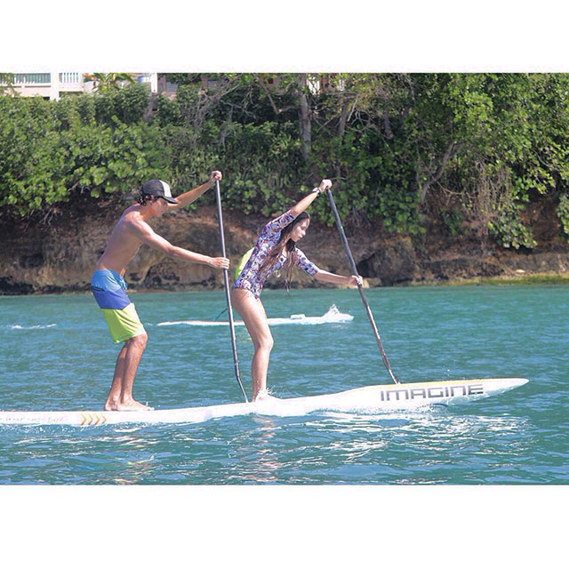 Miguel Alvarez and Desiree Hernandez: Tadem paddle boarding in Puerto Rico