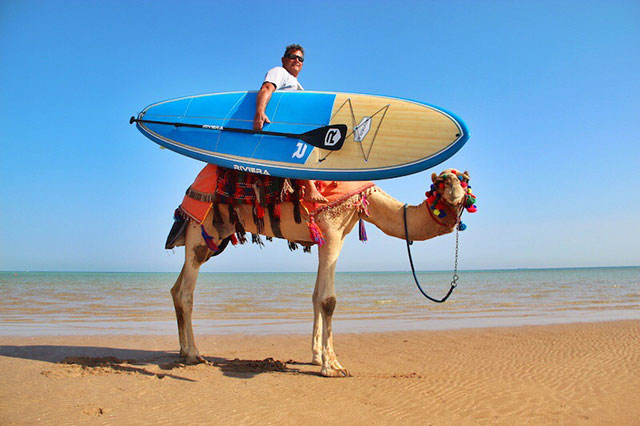 "Peter Harrison & Lucky da Camel: Aussie Peter Harrison and his trusty stead ""Lucky"" cruising the beaches of the Red Sea, Egypt in search of waves."
