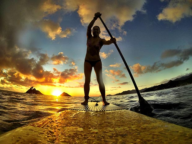 Pua Juliet: Enjoying a sunrise paddle at Nā Mokulua in Lanikai, Hawaii. South winds and no surf made the paddle to the islands nice and smooth, enjoying the vibrant Hawaiian sunrise colors.