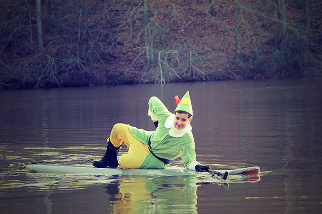 Stephen Weisweaver Buddy the Elf: Buddy the Elf, Santa's helper, SUP-laxing at Bull Run Marina, VA