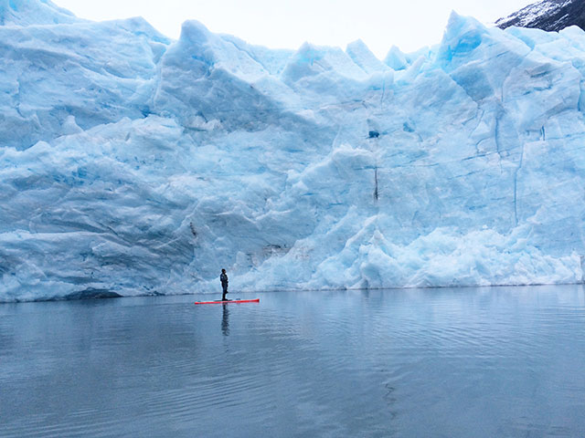 "Steve Chrapchynski: Steve Chrapchynski having a epic day paddling into the Alaskan wild. Location: 60°47'13.8""N 148°49'17.8""W : Portage Glacier Alaska : December 9 , 2014 : Photo taken by Tom Frederichs."