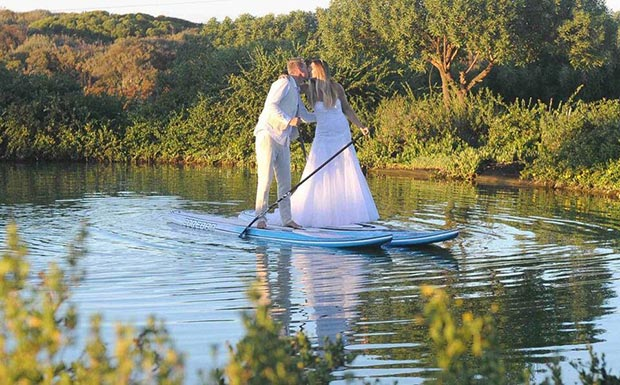 Tarryn King and Thomas King: Tom and I are both waterman and are currently competing on the SUP world tour. This photo was taken at our wedding in February this year in Cape Town, South Africa :)