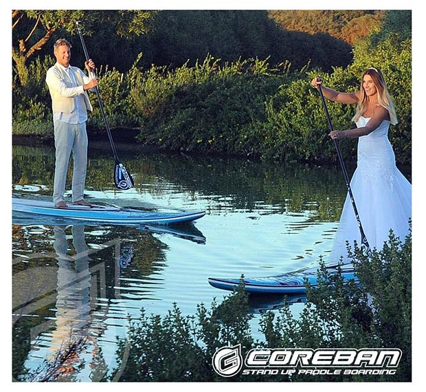 Tarryn King and Thomas King: Here is another Pic of us at our wedding in February this year. Tom and I are both competing on the SUP world tour this year and our wedding would not have been complete without a bit of stand up paddle boarding in it:)