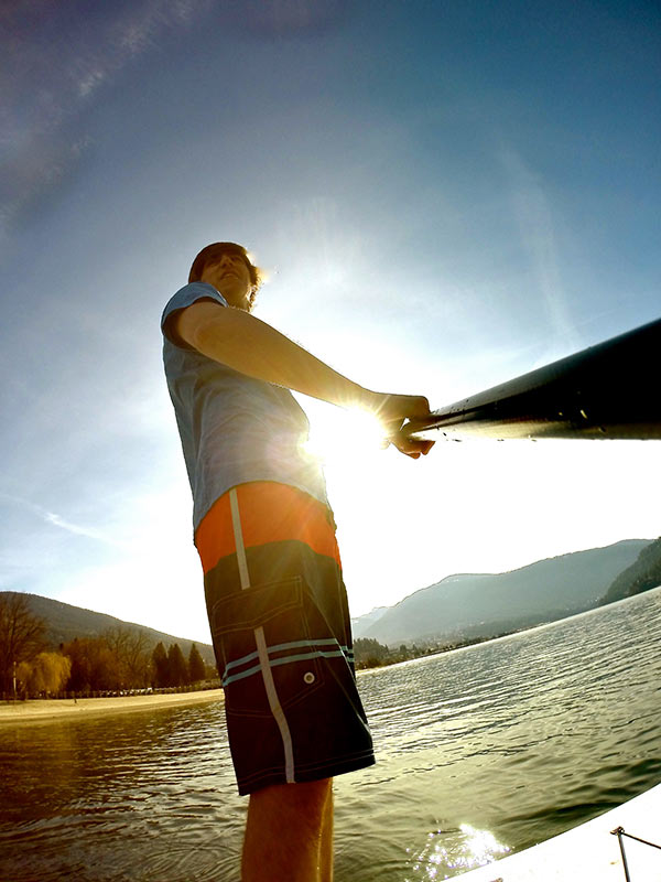 Tyler Tschritter: Paddle boarding on kootney lake in Nelson BC.